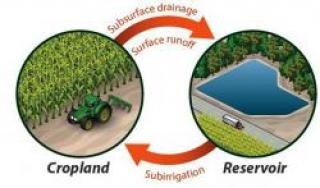 "This ""capture and use"" system diverts subsurface farmland drainage water into an on-farm reservoir, or pond, where it is stored until needed to irrigate crops, especially in times of drought. It is one of three farmland drainage innovations being studied by researchers at eight universities, including Purdue, and the U.S. Department of Agriculture's Agricultural Research Service. (Purdue Department of Agricultural and Biological Engineering graphic)"